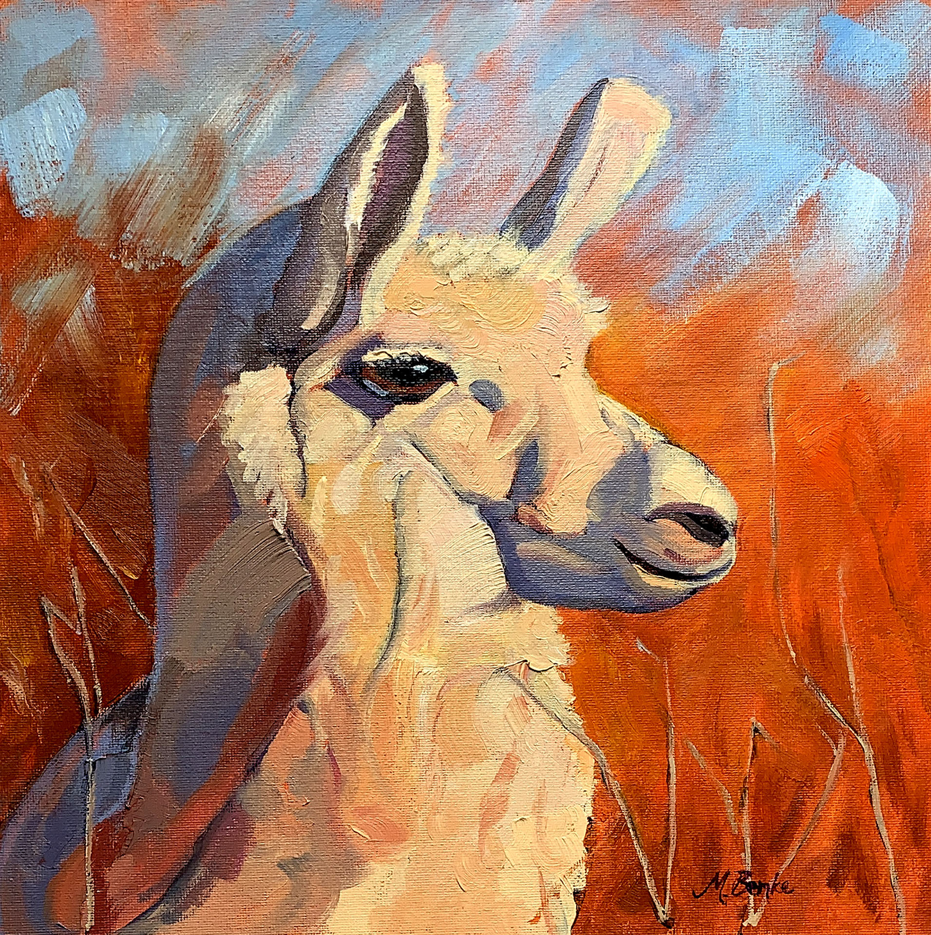 This closeup of a white llama looking into the distance features bold brush strokes and colors to depict the shaggy fur and light and shadows with a vibrant orange backdrop and complementary blue sky by Mary Benke