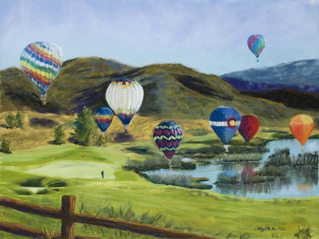 Hot air balloons soar over a golf course in this colorful landscape pastel from Colorado's high country by Mary Benke