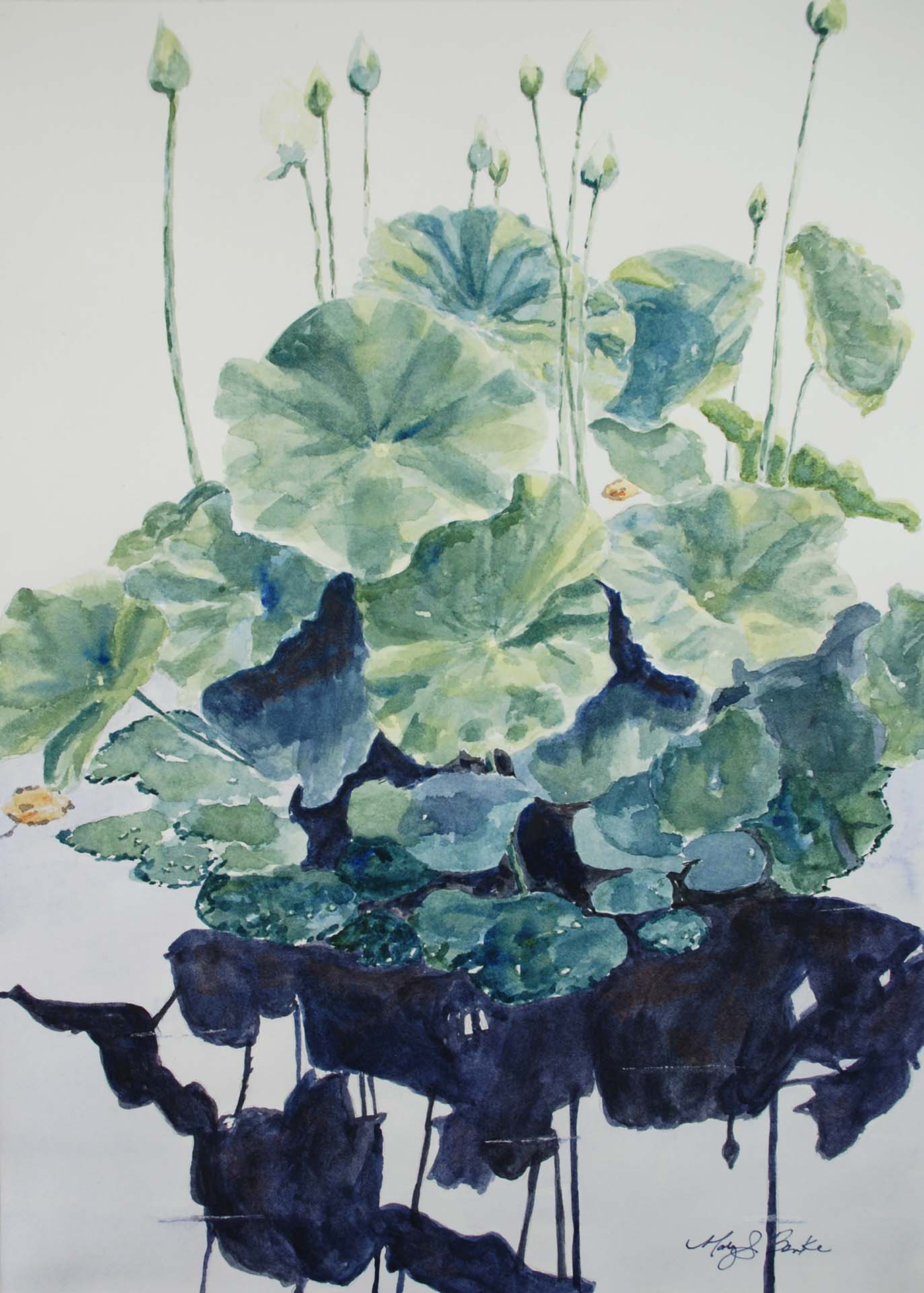 A watercolor painting of water lilies and their blooms reflected in still water with dark shadows by Mary Benke