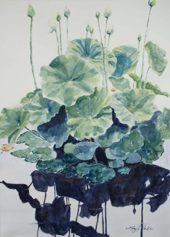 Spring Awakening_watercolor_waterlilies_marybenke