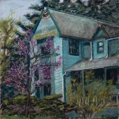 The square format on this vibrant pastel frames a blue Victorian house in Old Town in spring by Mary Benke