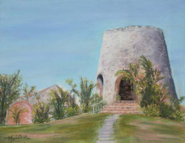 A pastel painting of a unique Caribbean structure, a sugar mill, in St. Croix in the U.S. Virgin Islands by Mary Benke