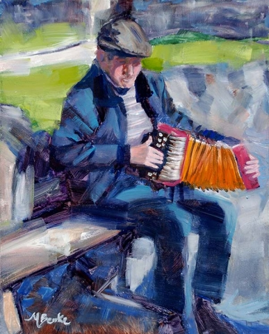 An oil painting of a charming Irish accordion player entertaining tourists on a sunny day along the Ring of Kerry route by Mary Benke