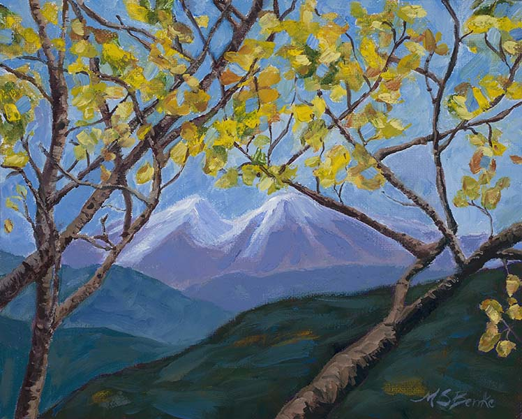 Landscape oil painting of snowcapped Colorado mountains seen through golden aspen leaves in Rocky Mountain National Park by Mary Benke