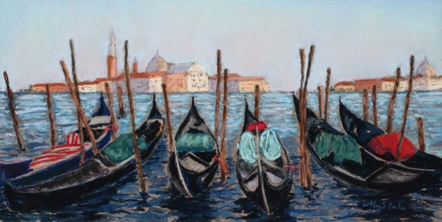 Pastel painting of gondolas sitting in a canal in front of Venice's Santa Maria della Salute by Mary Benke