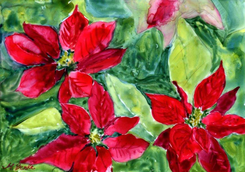 Bright red poinsettias set against a vibrant green watercolor background make this a perfect Christmas card or print by Mary Benke