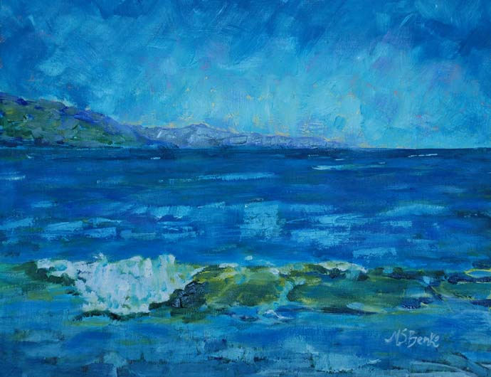Oil seascape painting of a green and blue waves in the Irish Sea with a rocky Scottish coast in the distance by Mary Benke