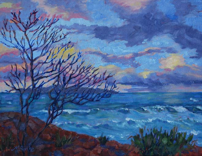 Sunset landscape oil painting of a silhouetted tree in front of a turquoise ocean lit by beautiful sunset by Mary Benke