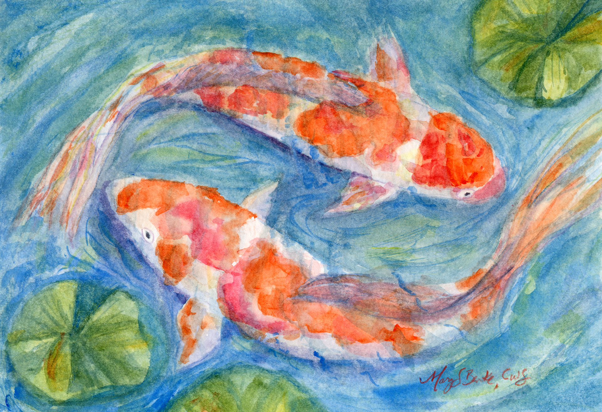 A peaceful watercolor painting of two koi fish swimming in circles by Mary Benke