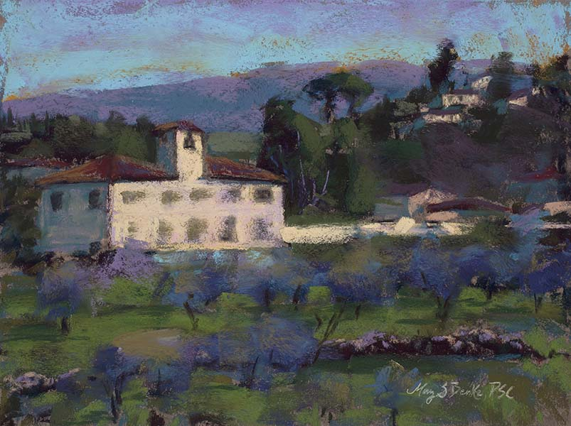 An iconic sunlit scene of an Italian villa in Tuscany near Florence is portrayed in soft pastels by Mary Benke
