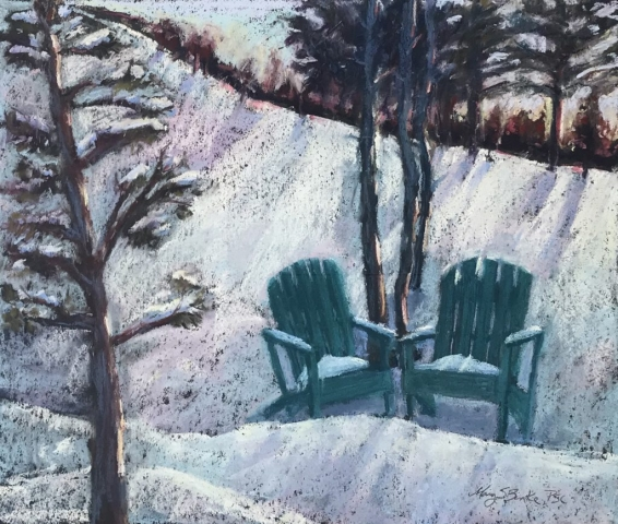 Spring pastel landscape painting with adirondack chairs waiting in the snow by Mary Benke