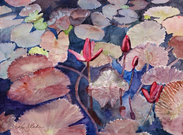A tranquil landscape painting in watercolor featuring water lilies, their leaves, and reflections by Mary Benke