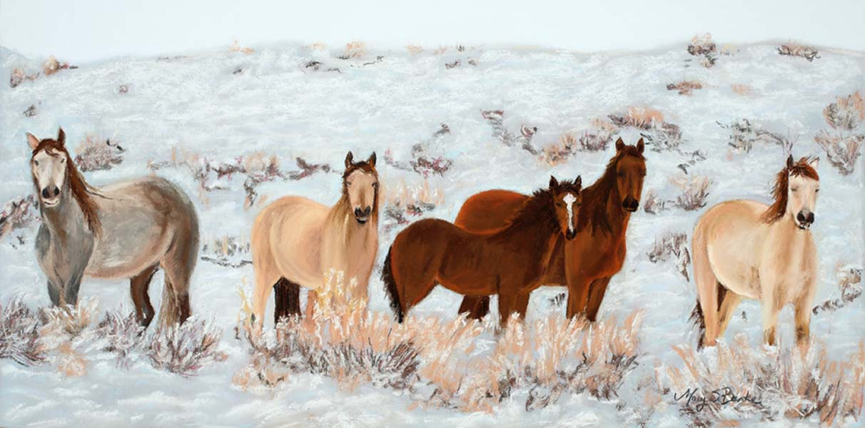 A pastel painting of inquisitive wild horses against a snowy backdrop by Mary Benke