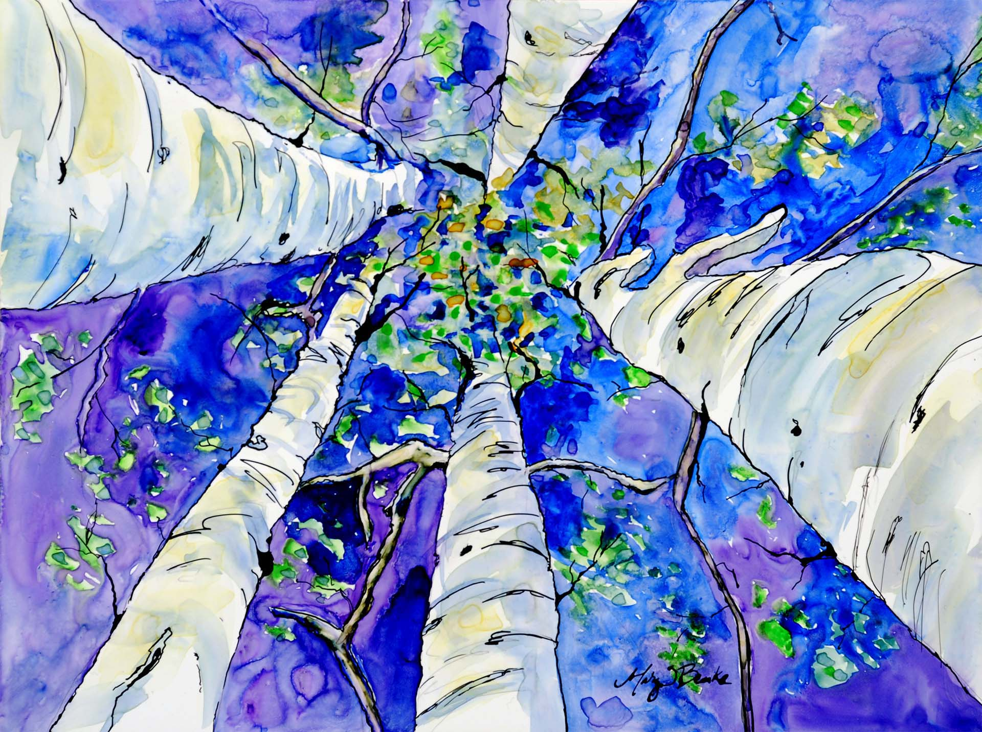 "A ""skyward"" view looking up through aspen trees to a blue/violet sky painted in watercolor and ink on Yupo paper by Mary Benke"