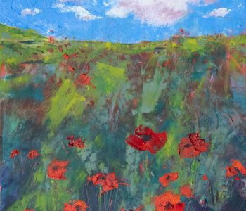 A cheery oil painting depicts vibrant red poppies against fresh greens and a brilliant blue sky by Mary Benke