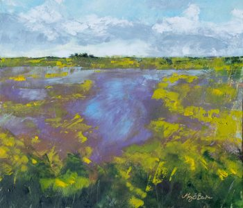 Greens, yellows, and lavenders combine in this vibrant oil painting of a midwest marshland by Mary Benke