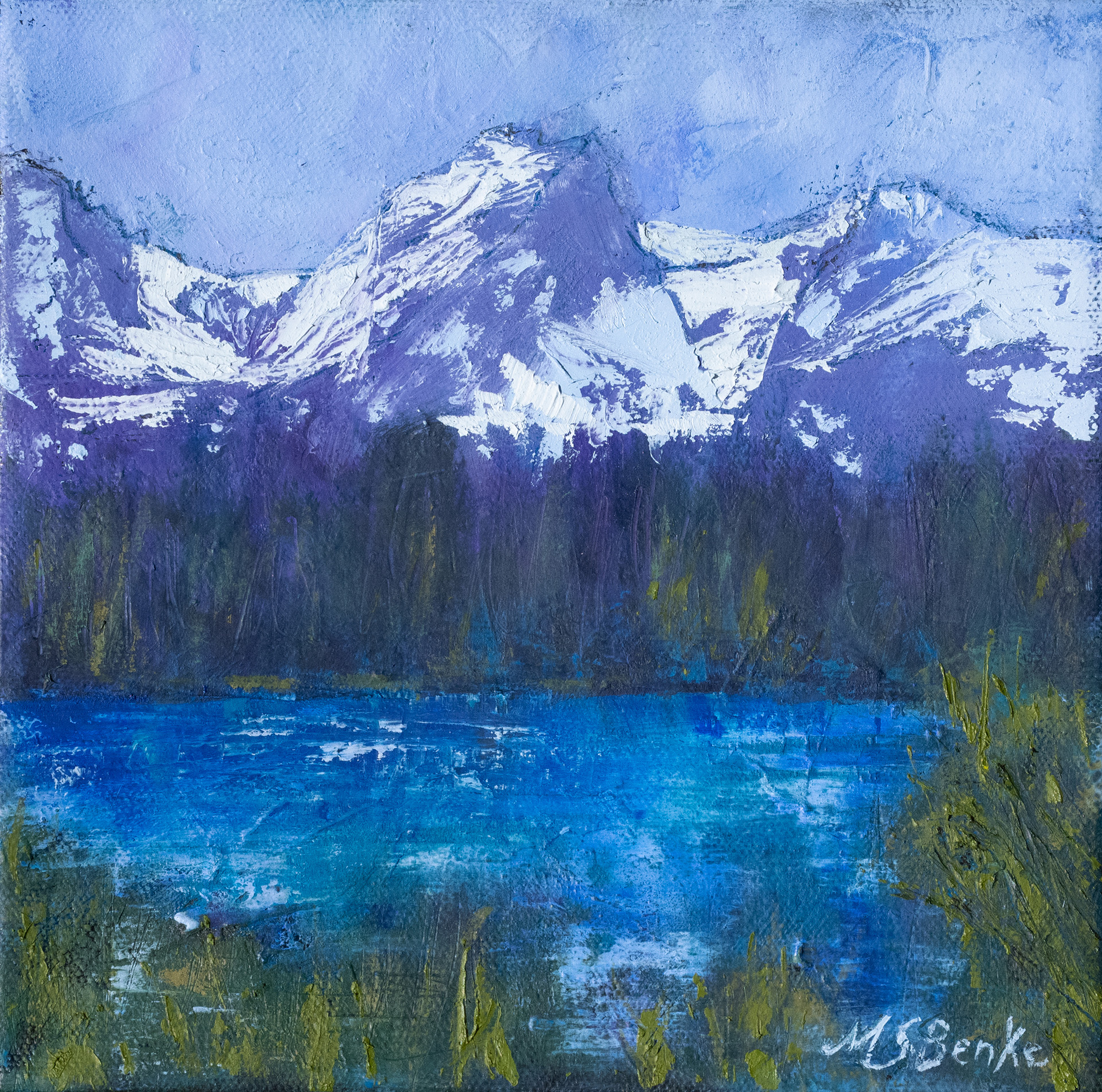 Snow-covered Hallett Peak soars over a peaceful lake in this square oil painting created in harmonic blues. lavenders, and greens by Mary Benke