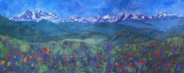 A vast panorama of Colorado's dramatic Front Range mountains forms the backdrop for peaceful foothills and poppies and lupine blooming in a meadow. Oil painting by Mary Benke