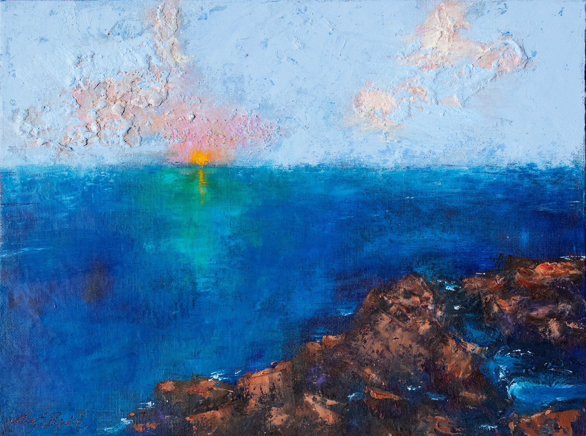 The setting sun makes a brilliant blue ocean glow in teals and greens in this colorful tropical oil painting by Mary Benke