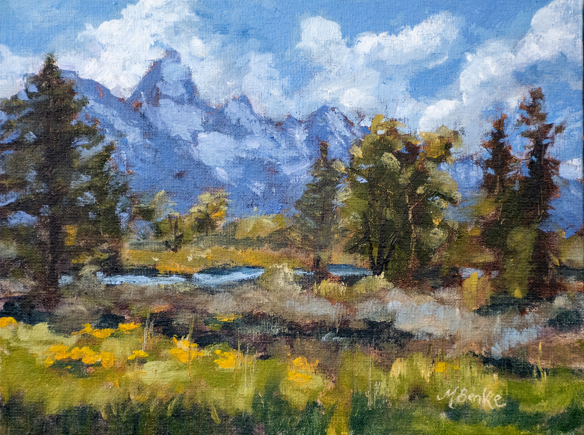 This stunning view captured in impressionistic oils greeted us every morning on a recent trip to Grand Teton National Park by Mary Benke