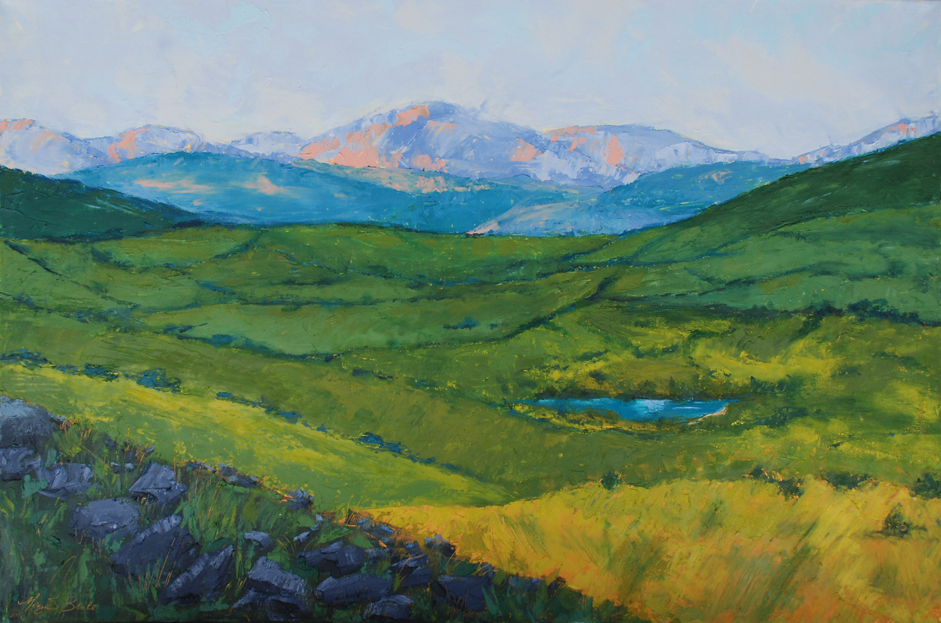 """This lush oil """"imagined landscape"""" painting was inspired by visits to Ireland, Northern Ireland, and Scotland. I love the patchwork of greens seen in those areas' fields, and the soft lavender and teal hills and mountains that rise in the background by Mary Benke"""