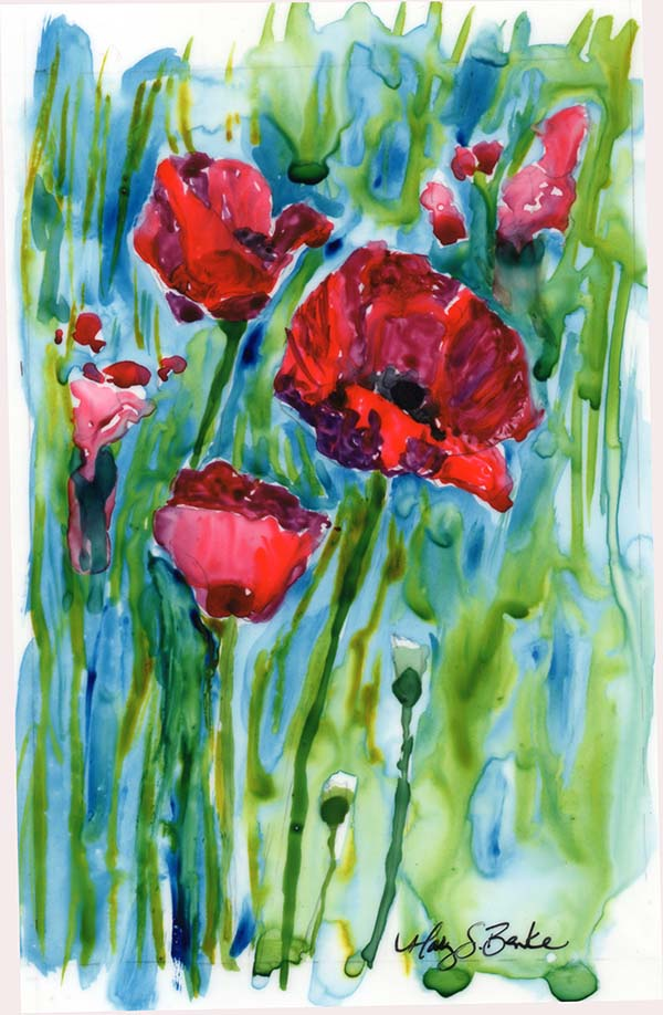 Vibrant red poppies take center stage in this lush watercolor on yupo with blues and greens combining into turquoise in the background leaves and sky for a rainy feeling by Mary Benke
