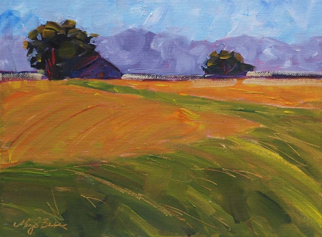 landscape oil painting of gold and green farm fields in the Midwest with barn by Mary Benke