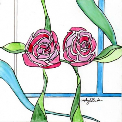 Inspired by Scottish artist and architect Charles Rennie Mackintosh, this watercolor painting on yupo paper combines delicate line work and pink, green and blue watercolor for a stained glass, art deco feel by Mary Benke