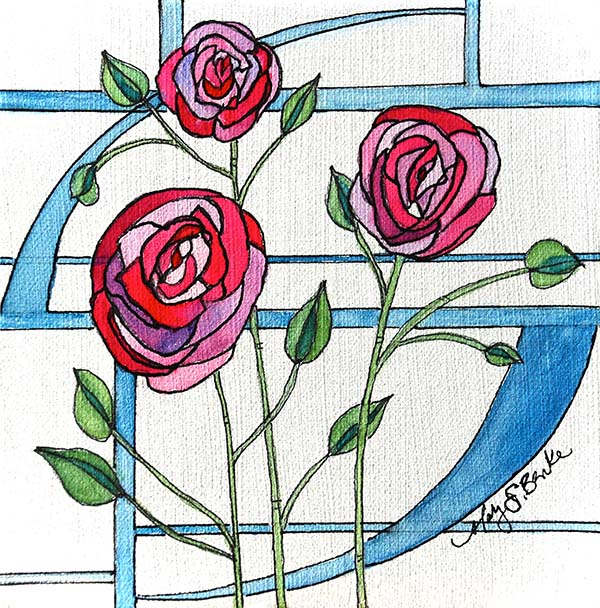 Inspired by Scottish artist and architect Charles Rennie Mackintosh, this watercolor painting combines delicate line work and pink, green and blue watercolor for a stained glass, art deco feel by Mary Benke