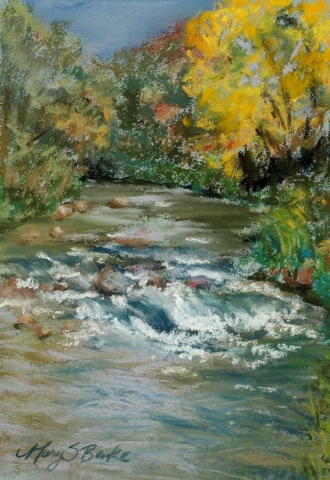 Pastel landscape painting done en plein air of fall trees along the Big Thompson River near Loveland, Colorado by Mary Benke