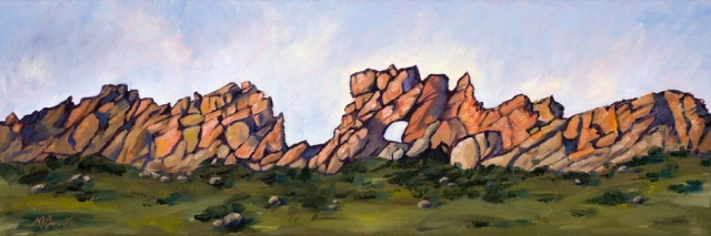 Panoramic oil landscape painting of Loveland, Colorado's intriguing rock formation, the Devil's Backbone done in a graphic style by Mary Benke