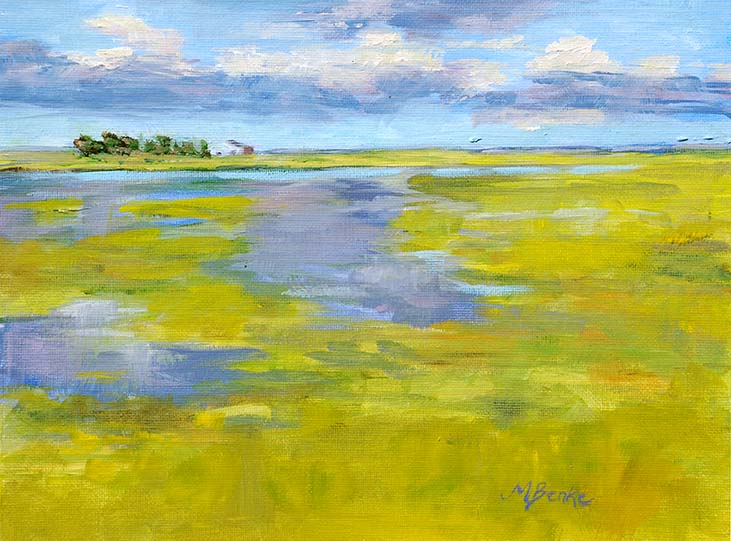 Landscape oil painting of a periwinkle marsh in lime green midwestern fields with barn in distance under stormy skies by Mary Benke