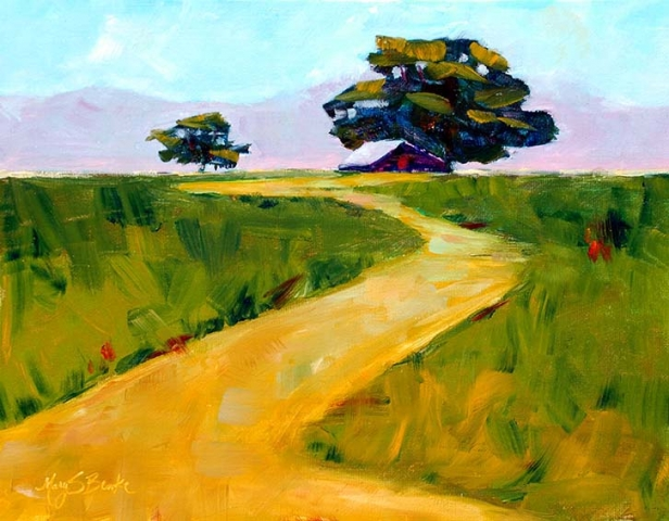 Rustic oil landscape painting of a path leading up to a deserted barn under cottonwood trees by Mary Benke