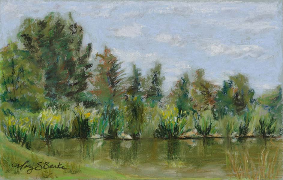 Landscape pastel painting of the lake at Loveland's Benson Sculpture Park with trees and flowers reflected in the water by Mary Benke