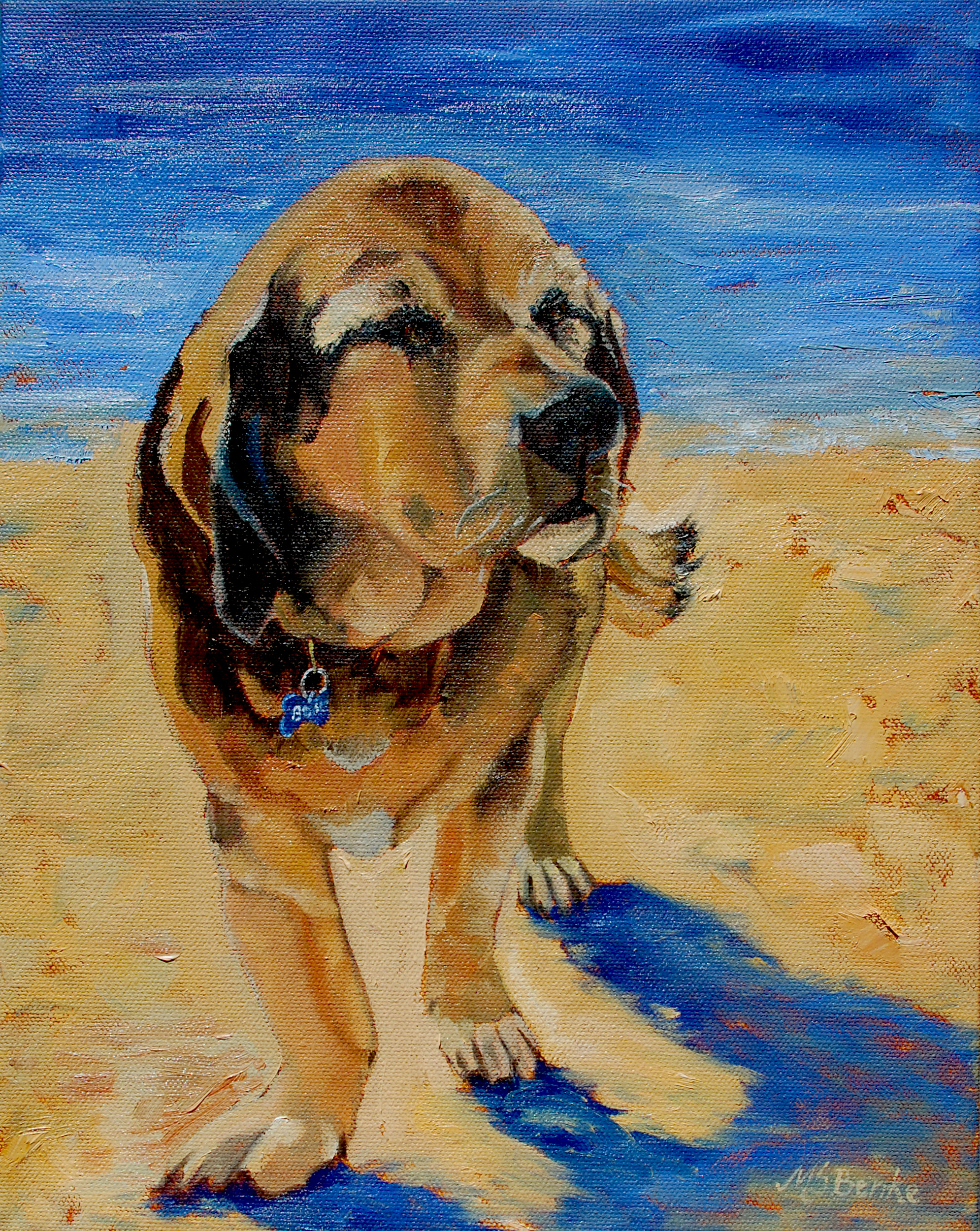dog portrait at the beach by mary Benke