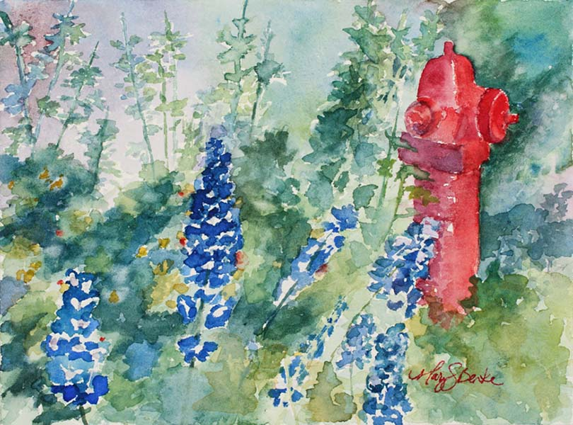 Watercolor landscape painting of blue delphiniums and other flowers with a red fire hydrant in Breckenridge, a Colorado Mountain town by Mary Benke