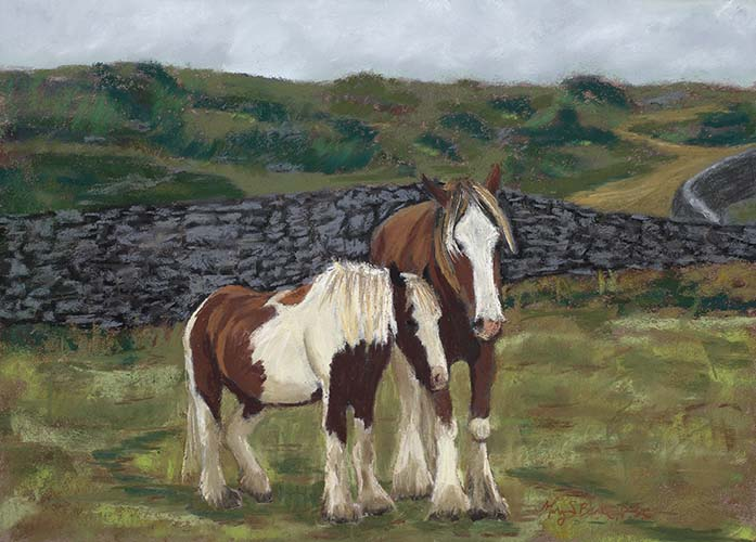 A pair of work horses huddle together in an eye-catching Irish rural scene in this pastel painting by Mary Benke