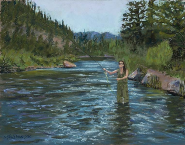 Pastel painting of a beautiful female fly fisherman casting in a blue river with ripples and a mountain setting by Mary Benke