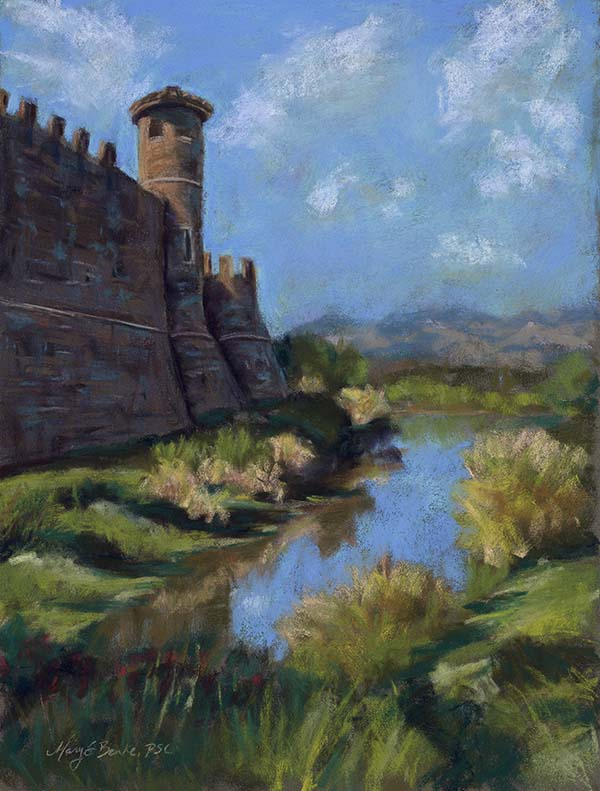A pastel painting of an authentically built, 13th century-inspired Tuscan castle and winery called Castello di amorosa is located in Napa Valley, but could just as easily be in Italy by Mary Benke