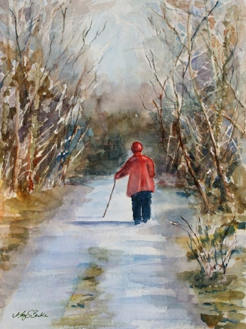 Watercolor painting of an elderly Irish lady in a red coat with a cane walking down a picturesque winter lane in County Clare by Mary Benke