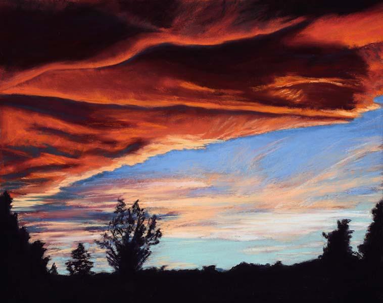 Landscape pastel painting of a fiery orange sunset by Mary Benke