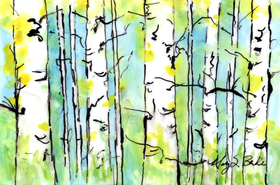 Abstract landscape painting of yellow aspens in a glen in watercolor and ink on Yupo paper by Mary Benke