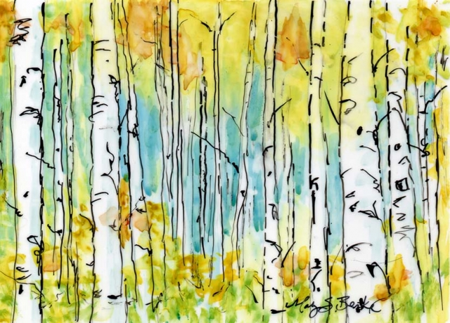 Abstract landscape painting of yellow and orange aspens in a glen in watercolor and ink on Yupo paper by Mary Benke