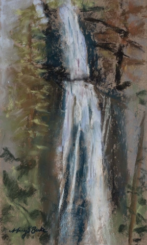 Abstract pastel landscape of a waterfall near Pagosa Springs Colorado done in geometric style by Mary Benke