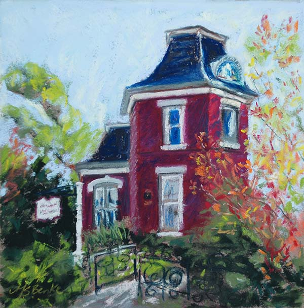 A pastel painting of The McCreery House, a red Victorian house in Loveland, Colorado, site of many weddings by Mary Benke