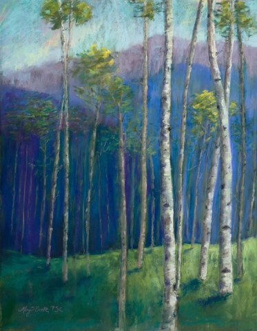 An abstract landscape pastel painting of tall aspen trees set against blue and lavender mountains by Mary Benke