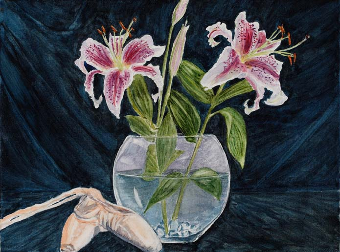 Still life painting of lilies and ballet pointe shoes in watercolor by Mary Benke