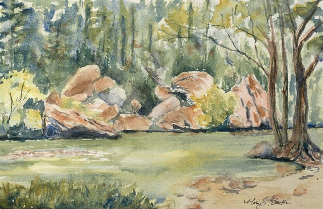 Watercolor landscape painting done en plein air at the Poudre River featuring rocks, trees and water, by Mary Benke