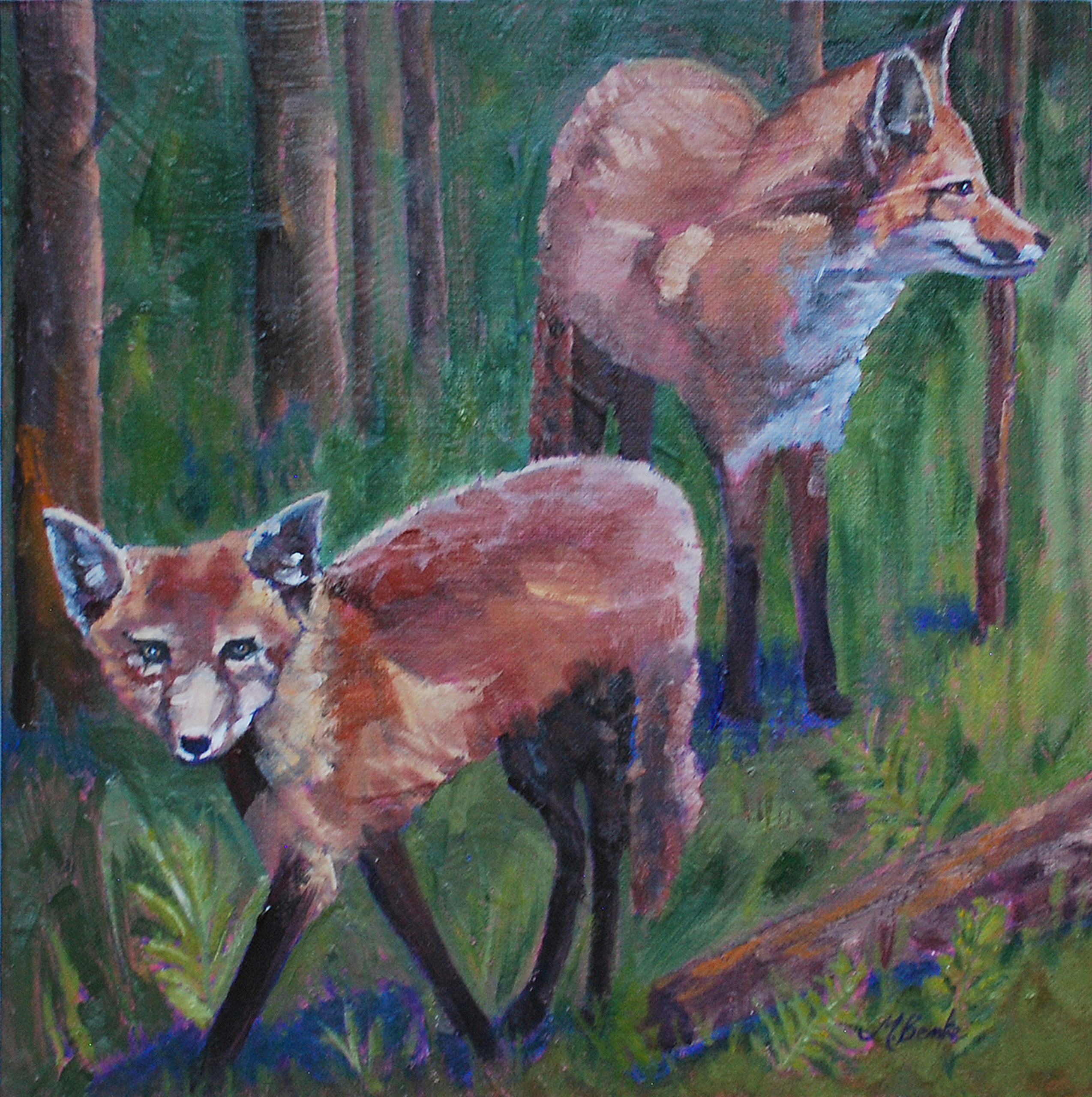 For anyone who loves foxes, this striking oil painting features a pair of kits out looking for adventure as they emerge from a deep green forest. Their fur is painted with strong brushstrokes in various shade of red, making a strong contrast with violet shadows and green foliage by Mary Benke