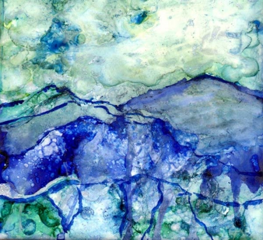Abstract alcohol ink landscape of mountains in greens and blues by Mary Benke
